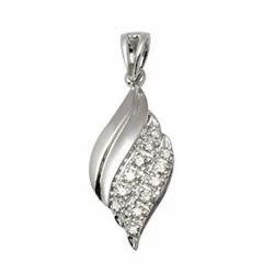 White Gold Diamond Leaf Pendant