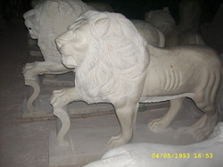 White Marble Standing Lion