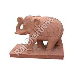 Red Marble Elephant Statue