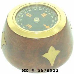Brass & Wood Nautical Compass, Size/Diameter: 3 Inch