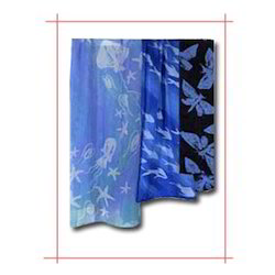 Blue Print Polyester Scarves