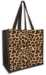Leopard Brown Jute Beach Bags