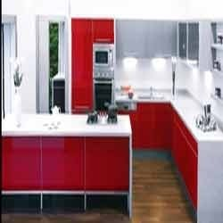 Flame Red Kitchen Cabinets