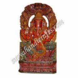 Wooden Meena Painting Ganesha