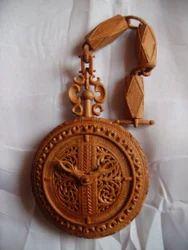M&R Handicrafts Natural Brown Sandalwood Carved Pocket Watch
