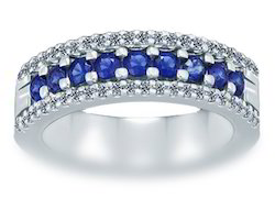 Triumph 3Row Diamond Blue Sapphire Ring