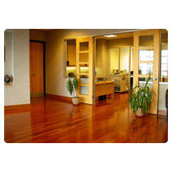 Brown Solid Wood Flooring, for Indoor, Finish Type: Glossy