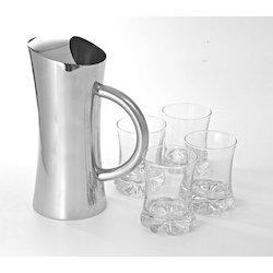 Acqua Lemon Set Of 4 Glasses With Pitcher