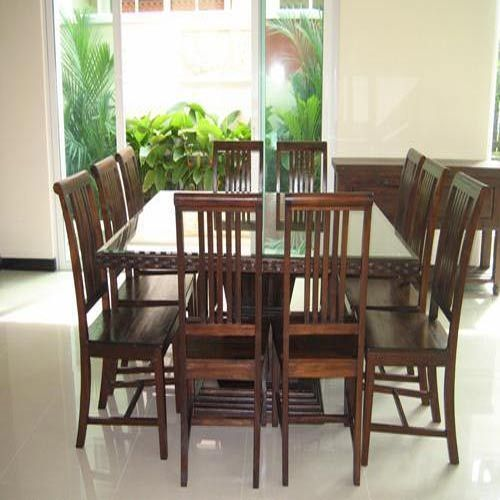 Swathi S Furnitures Brown 10 Seater Teak Wood Dining Table Set For Home Id 2309373633