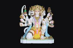 HU-0039 Makarana Marble Panchmukhi Hanuman Statue
