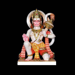 HU-0012 Marble Hanuman Statue Colorful