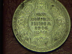 British India Silver Coin Of One Rupee 1916