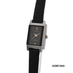 Ladies Silver Dial Black Wrist Watch