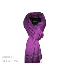 Viscose Satin Scarf with Sided Border