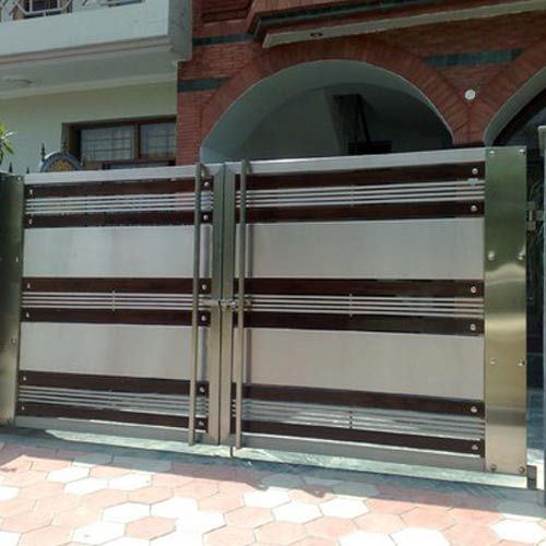 Stainless Steel Modern House Gate Designs: Stainless Steel Gate With Long Handle