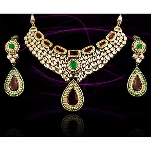 Kundan Meena Jewellery Emerald Kundan Meena Necklace