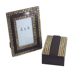 Dark Brown And Golden Wooden Designed Photo Frame & Box Set, For Gift