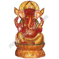 Wooden Painting Ganesh Ji With Sitting