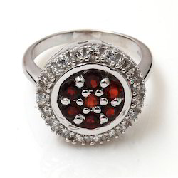 Round Garnet Gemstone Ring