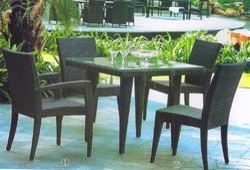 Garden Rattan Wood Furniture Set