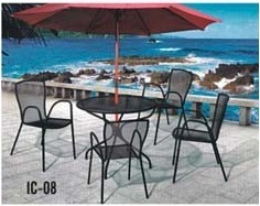 Pool-Side Wrought Iron Chair & Table
