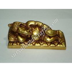 Brass Ganesh Sleeping Statue