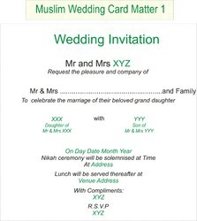 Wedding Invitation Card Matter Wedding Invitation Wording Muslim