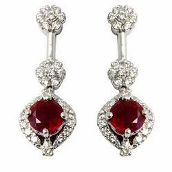 Diamond Ruby Jewelery Long Earring