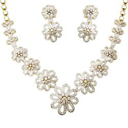 Flower Diamond Wedding Necklace Set
