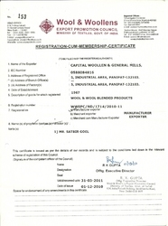 Wool & Woollens Export Promotion Council Ministry of Textile Government of India Certificate