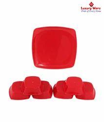 6 Pcs Full Square Plates / Veg Bowls