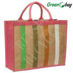 Green Bag Rope Handle Colorful Cotton Canvas Bags