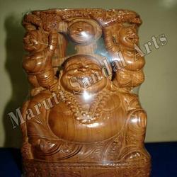 Sandalwood Laughing Buddha Playing with Baby
