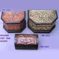 Carved Wooden Pet Urns