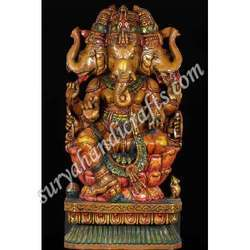 Wooden Painted Ganesha With Three Face