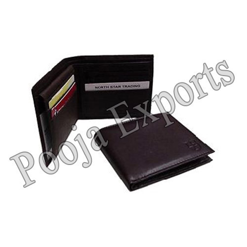Pooja Exports Black Leather Men' s Wallets, For Persnol, Card slots: 2 Slot