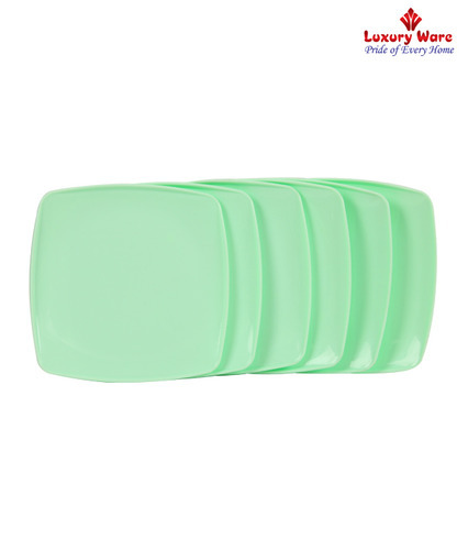Royal touch Multicolor Green Full Square Plates