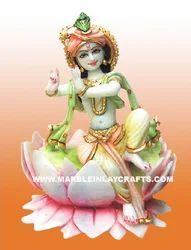 Marble Krishna Statue on Lotus