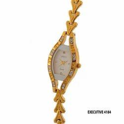 Ladies Golden Fancy Dial Wrist Watch
