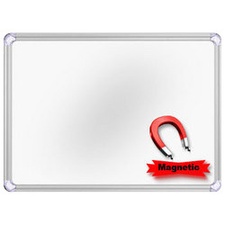 Melamine Writing Surface Plain Magnetic White Board, Board Size: 24'  x 18' , Frame Material: Durable Aluminium