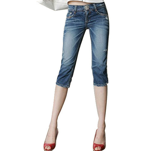Blue Plain Ladies Capri, Size: M