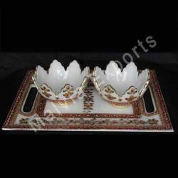 Marble Serving Bowls with Tray