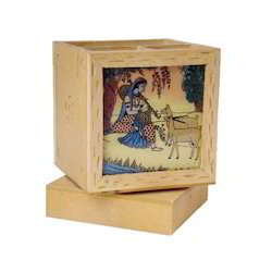 Mahesh Handicraft Brown Wood Revolving Pen Stands, For Office, Size: 208 X 148 X 65 Mm