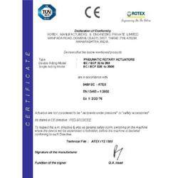 CE Certificate for Pneumatic Actuator