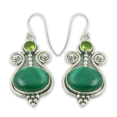 Art Palace Light Green And Dark 925 Sterling Silver Malachite Peridot Gemstone Earrings