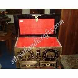 Wooden Box With Brass Elephant