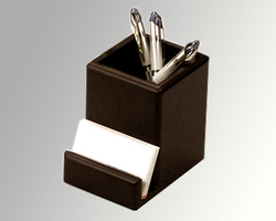 Matt /Brown/Gloss. Wooden Pen Mug With Visiting Card Holder