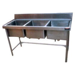 Standard Glossy Stainless Steel Three Compartment Sink