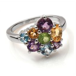 925 Silver Ring With Orange Stone