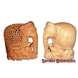 Wood Elephant Family Undercut/ Carved/ Plain